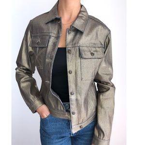 Vintage Metallic bronze jean jacket S